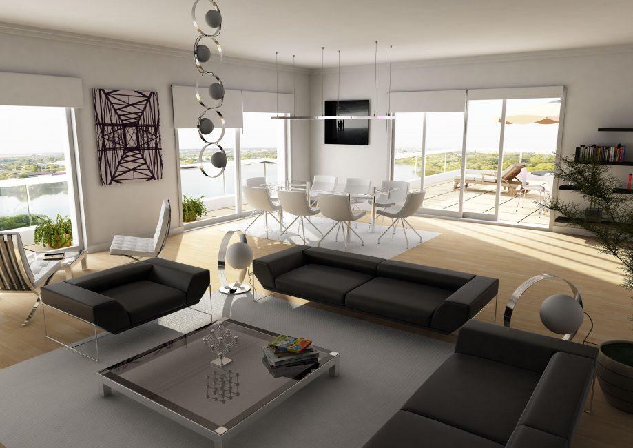 Siyah ve beyaz salon tasarımı