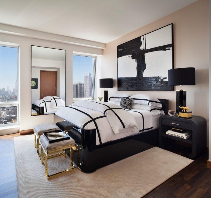 Siyah ve beyaz kombinasyon genellikle klasik modern minimalist tasarım için kullanılır.