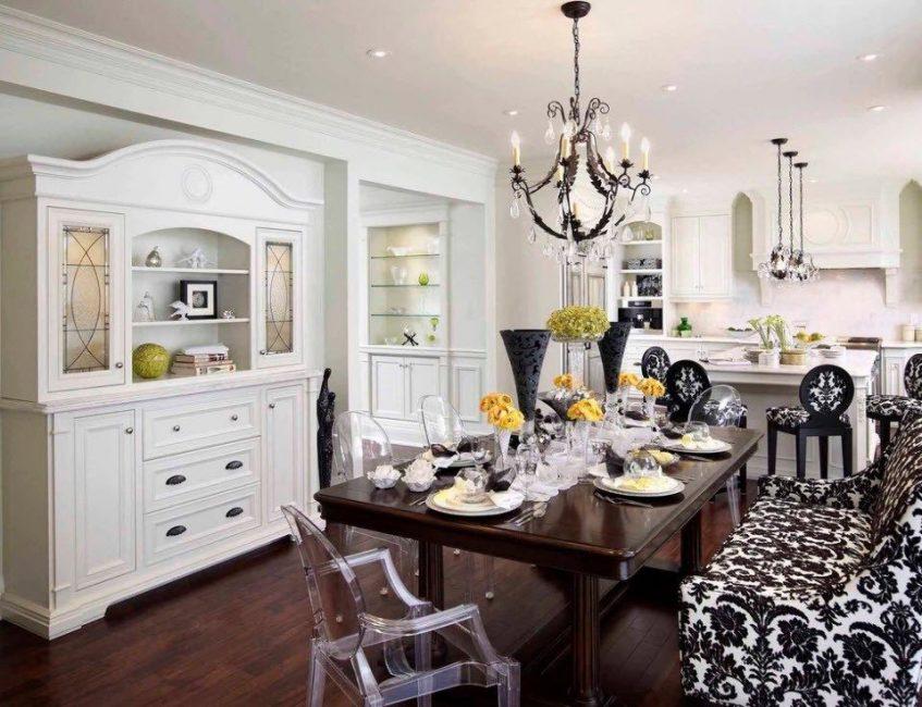 Untuk dapur ciri, dibuat dalam kombinasi hitam dan putih