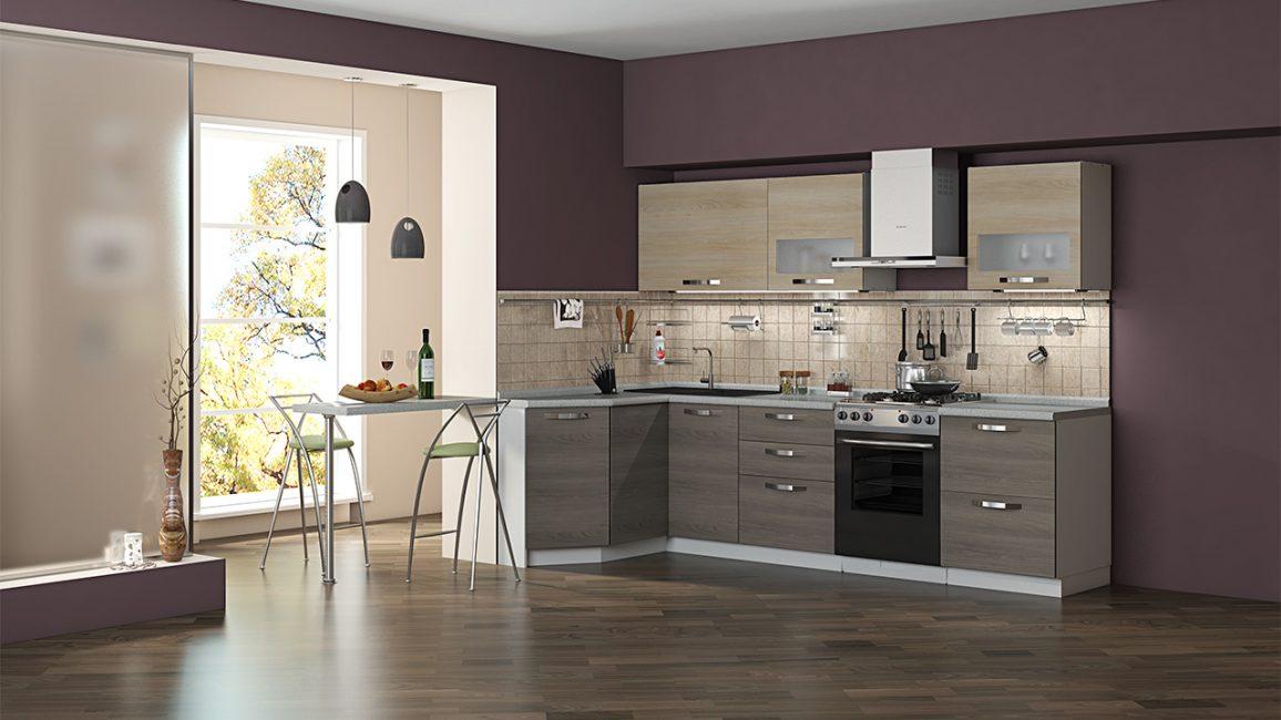 Penyelesaian asal adalah sofa dapur modular.
