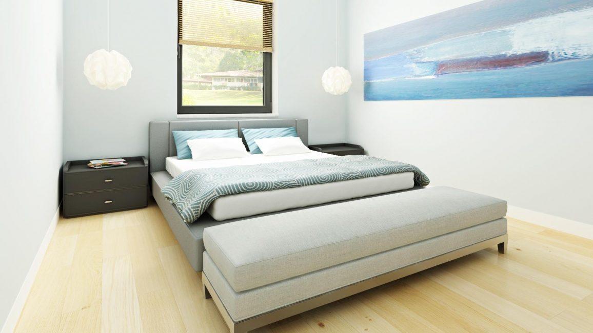 Bilik tidur yang kecil dan nyaman dengan warna biru