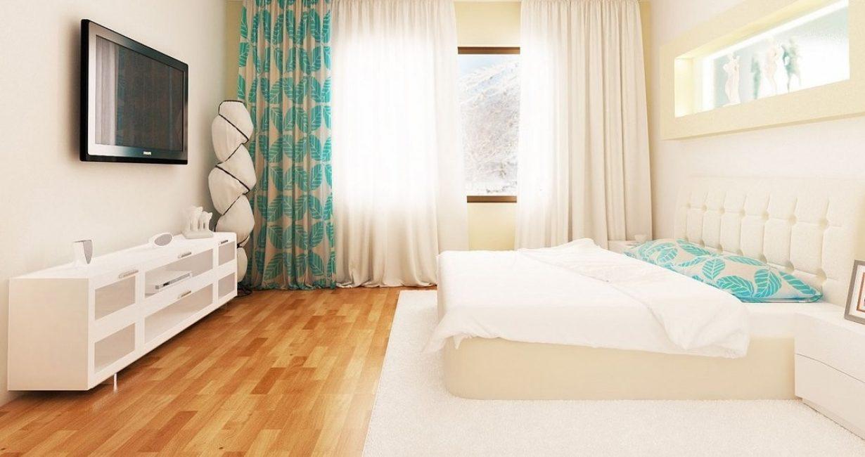 Bilik tidur yang besar dan terang dalam gaya desa.