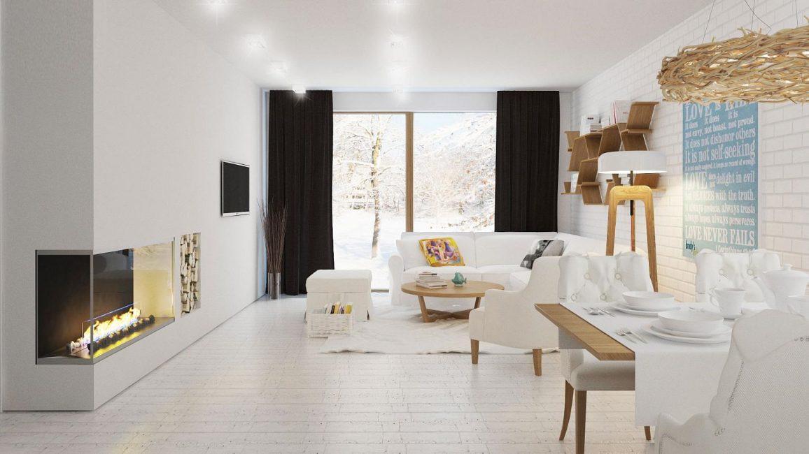 Ruang tamu dengan gaya desa yang selesa