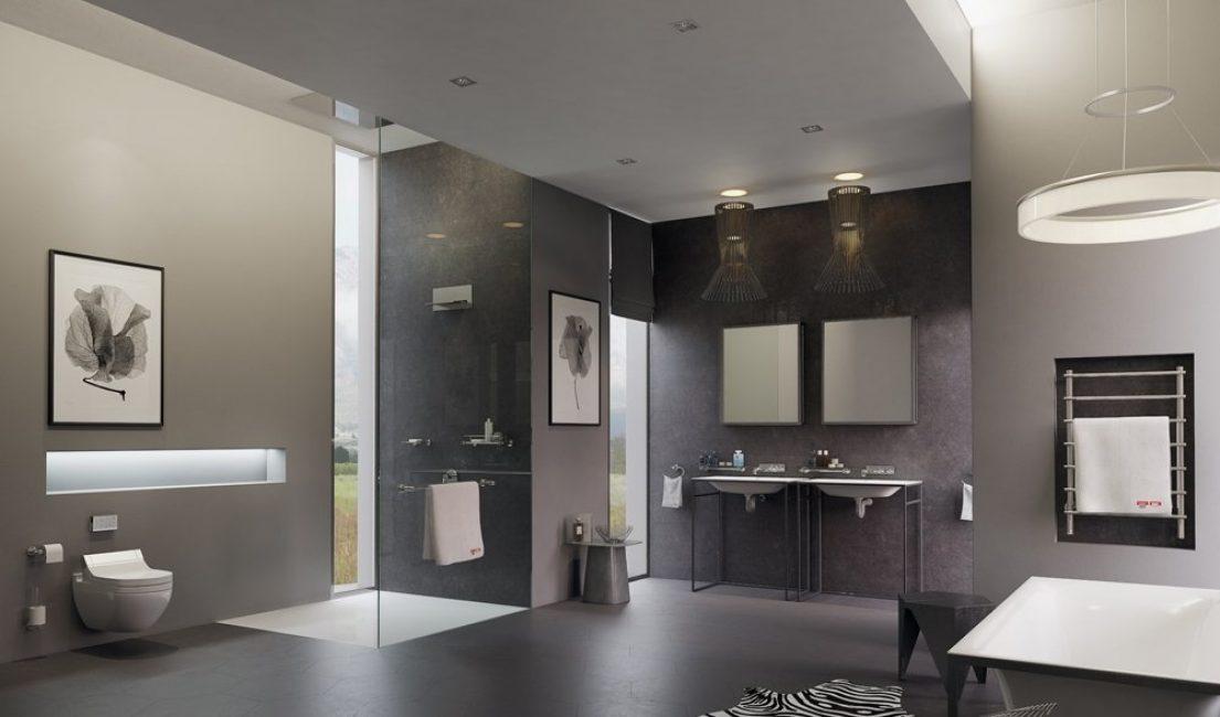 L'interno del bagno nello stile dello spazio high-tech porterà tutti i vantaggi della modernità.