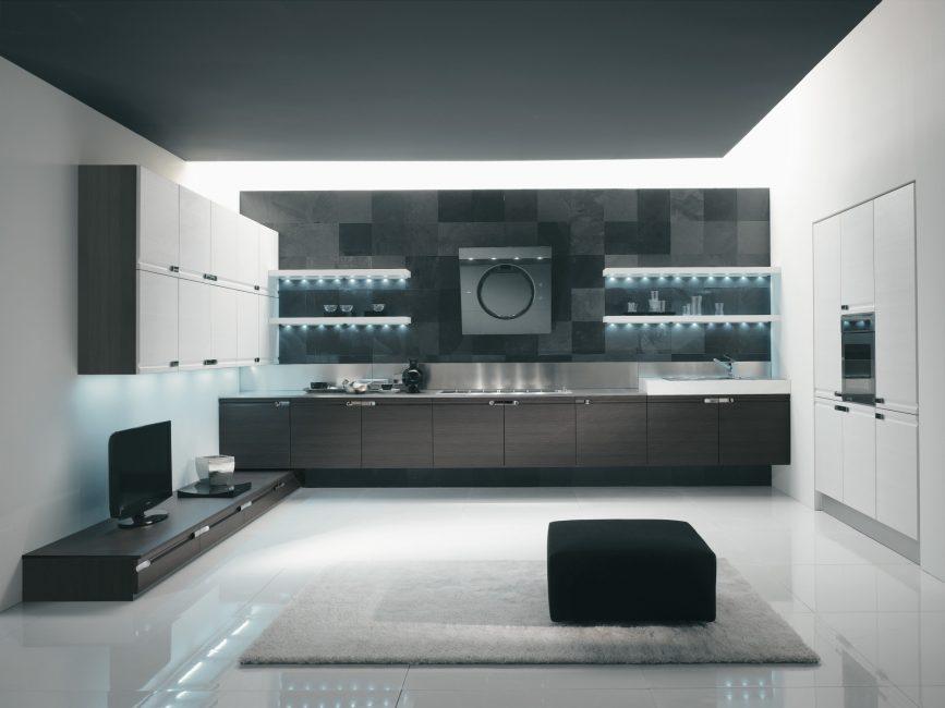 Opzione con la combinazione di cucina e soggiorno