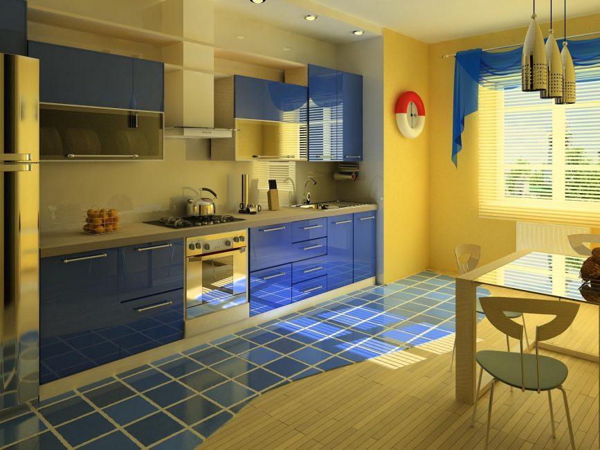 Mavi mutfak iç