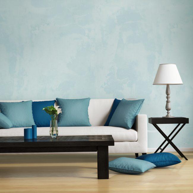 Zengin koyu mavi ve açık gri belirli bir kontrast oluşturur.