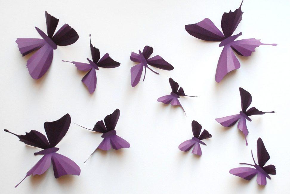 Duvardaki kağıt 3D kelebekler