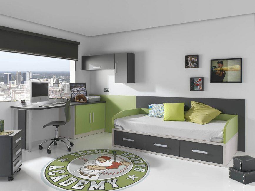 Erkekler için gri çocuk odası