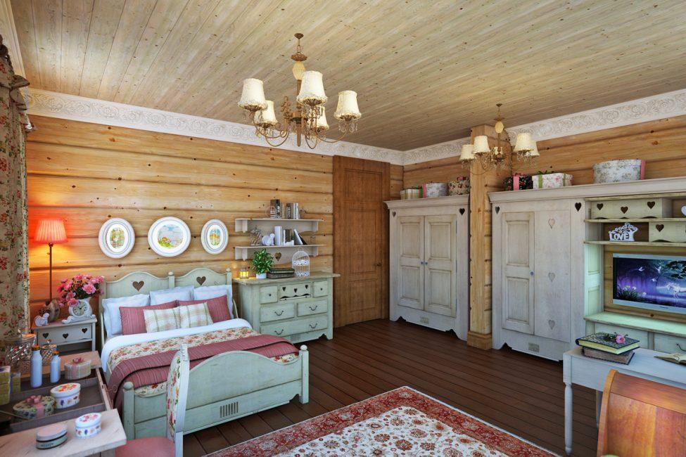 Banyak kayu dan tekstil di pedalaman bilik tidur