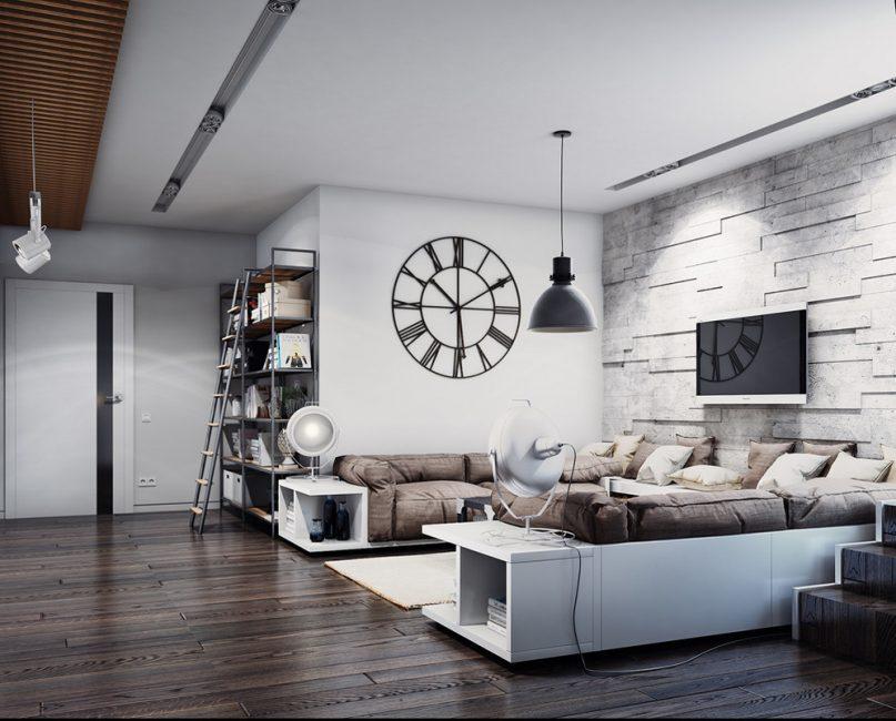 Ciri utama gaya loteng adalah minimalism.