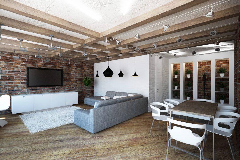 Rasuk kayu dan kayu paling sesuai untuk siling dalam gaya ini.