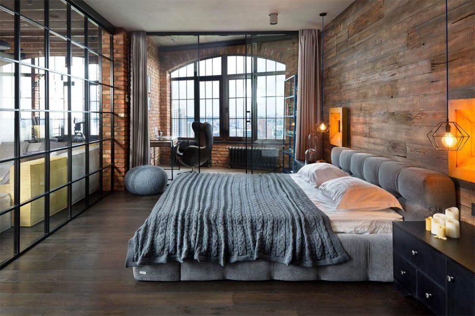 Bilik tidur dalam gaya ini menyediakan jumlah minimum perabot