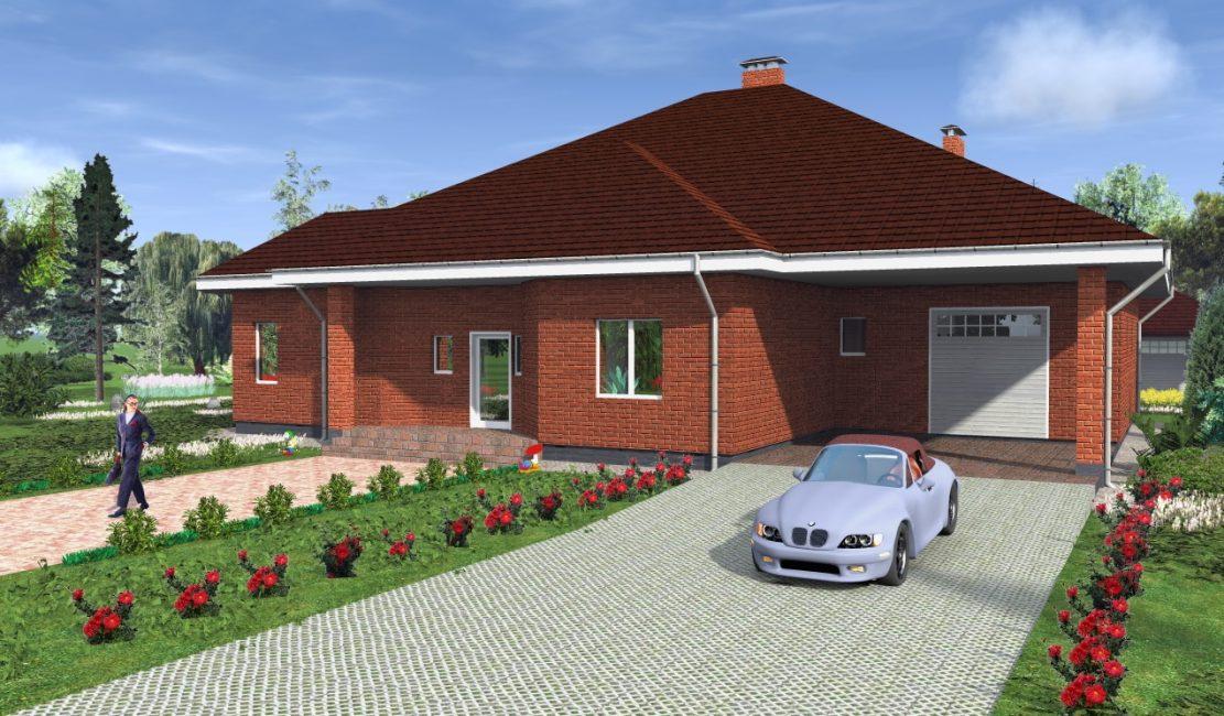 Garaj ve terasa sahip tek katlı ev