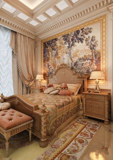 Bilik tidur dalaman dalam gaya istana