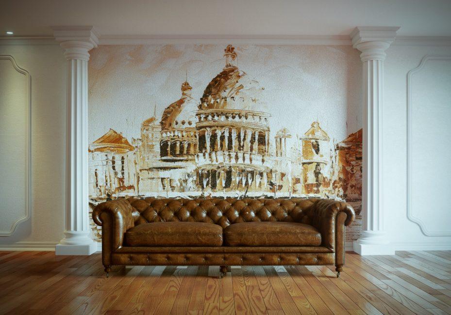 Dinding mural di pedalaman klasik
