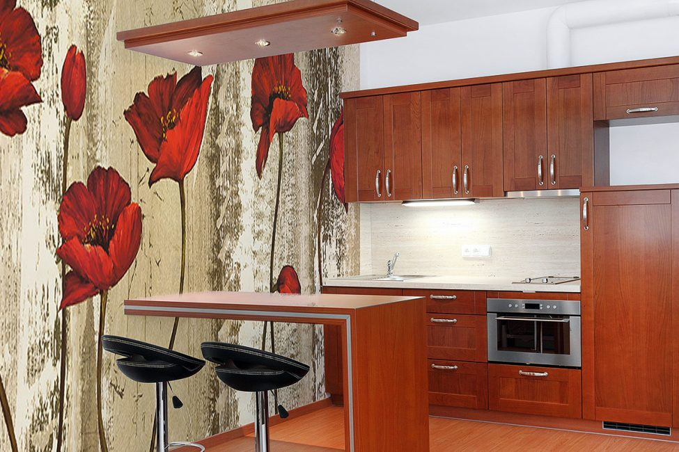 Fresco dengan poppies dalam reka bentuk dapur
