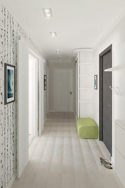 Lantai putih menambah ketinggian ke bilik yang rendah