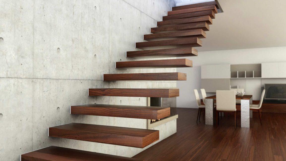 Tangga tanpa tangga dengan langkah-langkah kayu