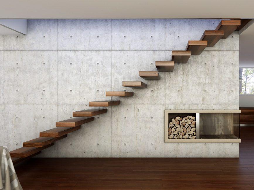 Kurang tangga cantilever - tiada pagar