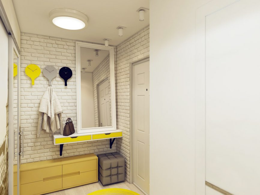 Bata putih dan perabot kuning - tandem bergaya