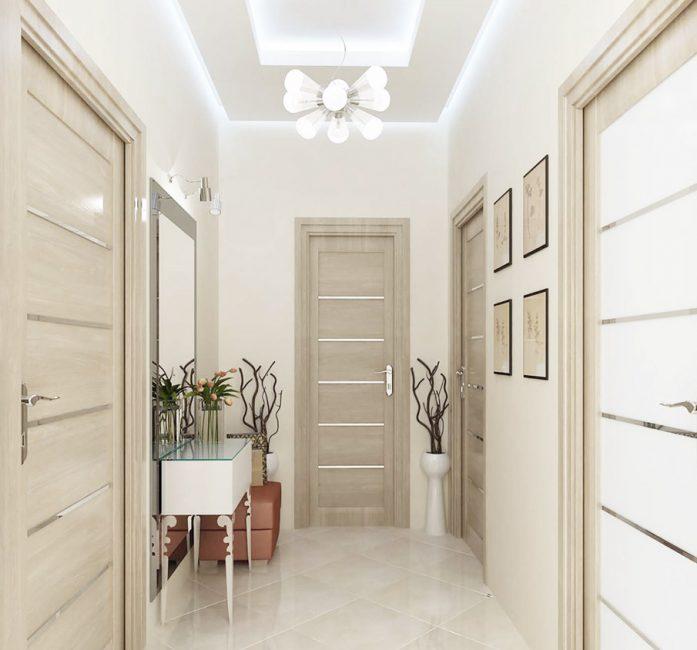Luminaire kreatif dan siling dua peringkat dengan pencahayaan memberikan cahaya terang sepenuhnya.