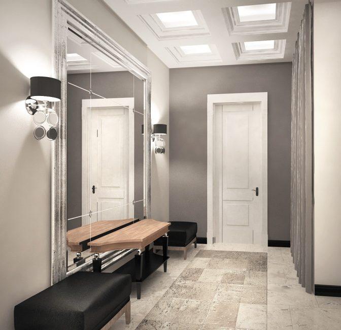 Pilihan yang lebih biasa - lampu disusun secara simetri pada kedua-dua belah cermin