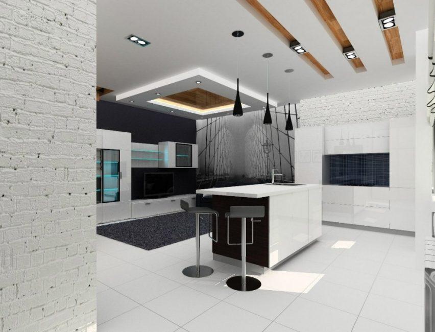 Interior moden dalam gaya berteknologi tinggi