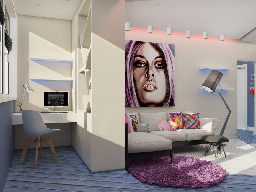 Interior dalaman kreatif, dibina di atas kontras yang terang