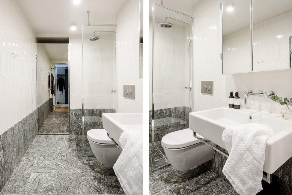 Di bilik mandi, lebih baik memasang gerai mandi