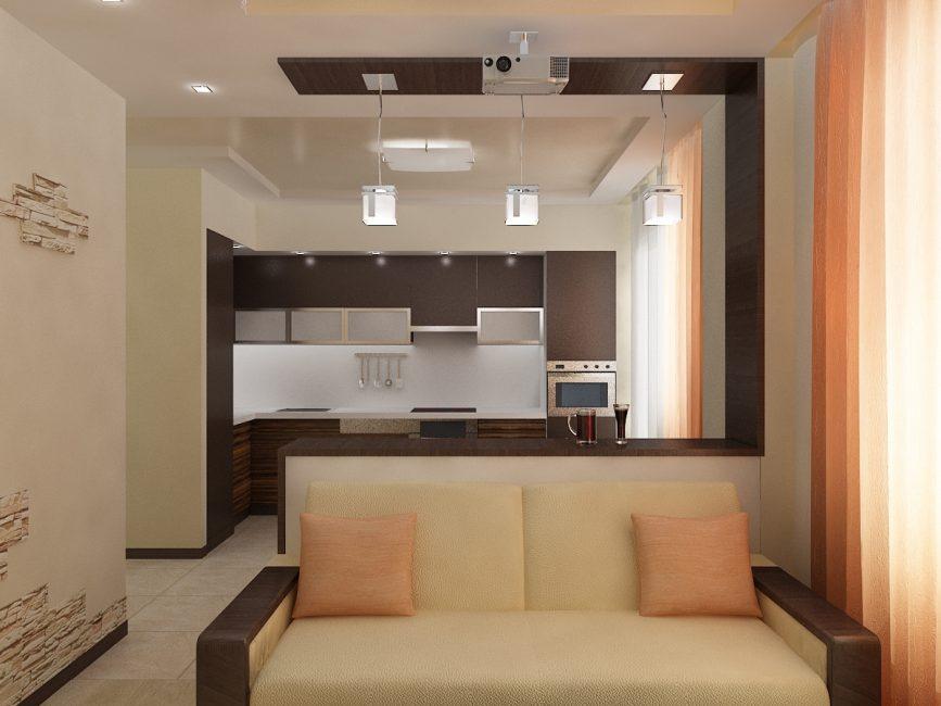 Peletakan berbentuk L set dapur menjimatkan ruang dan pada masa yang sama terdapat ruang yang cukup untuk kerja