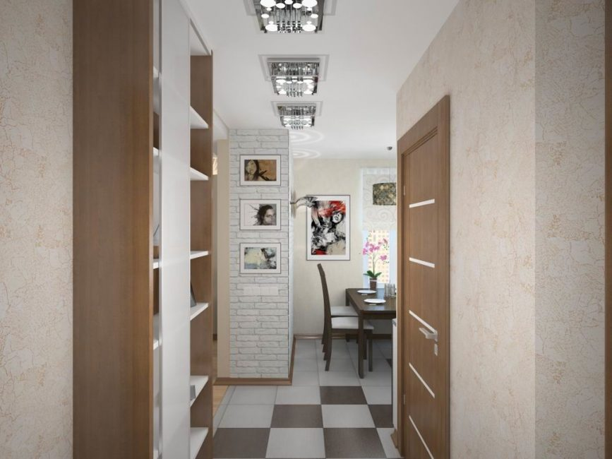 Di koridor, sebaiknya memasang almari cetek.
