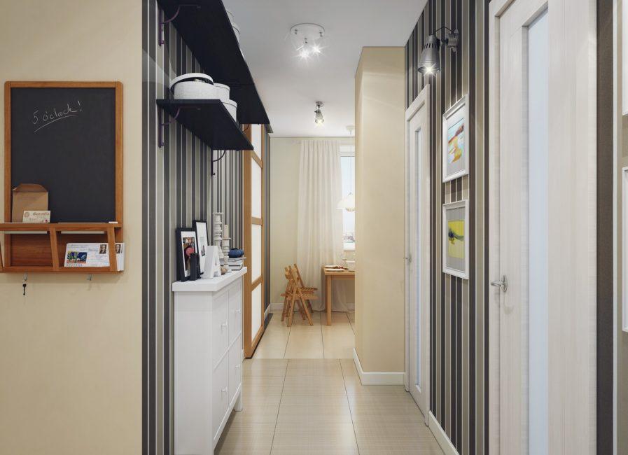 Koridor kecil dengan rak fungsian