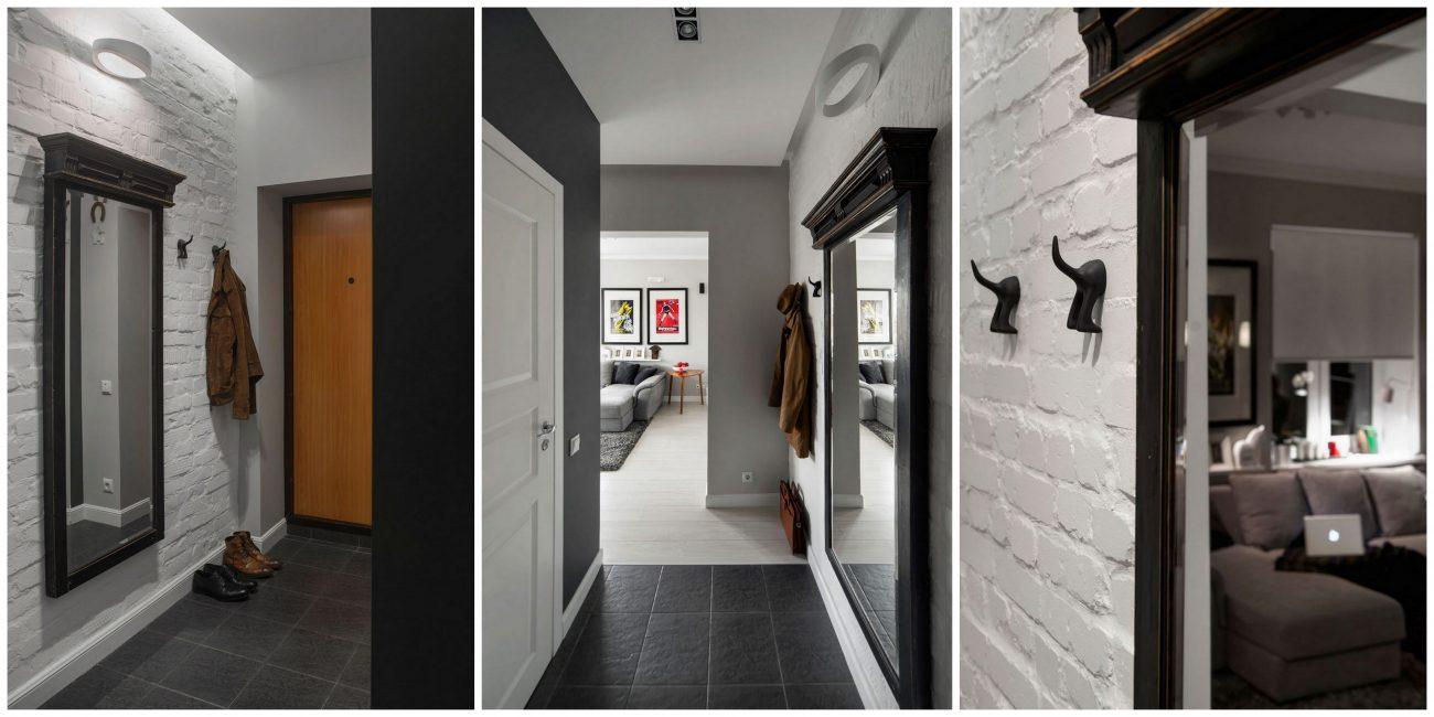 Batu bata dan cermin antik akan menghiasi koridor anda