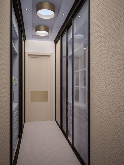 Rak dibidang dan pintu kaca meluaskan ruang sempit