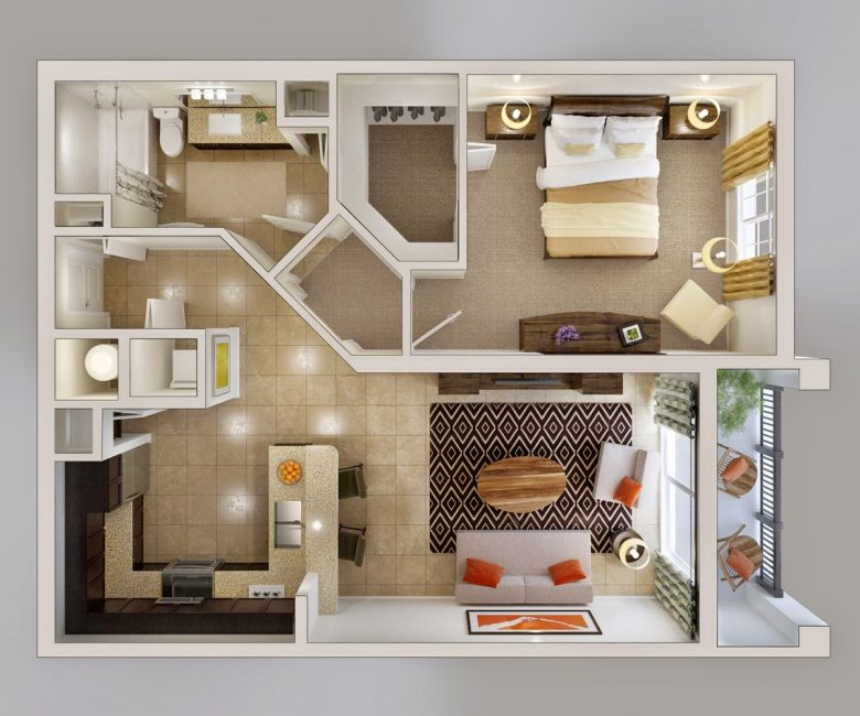 Convenient layout of 2-room apartment