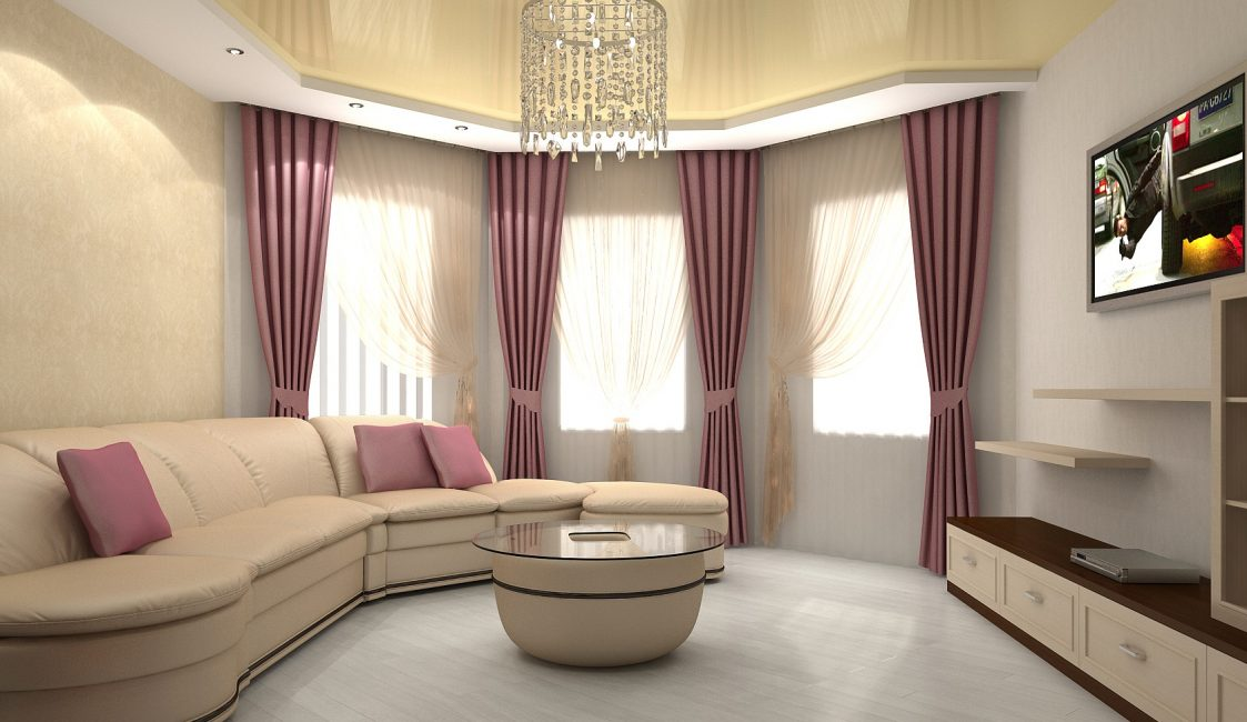Living room with a semicircular wall design
