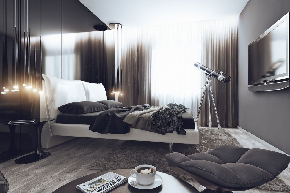 High-tech style for the bedroom