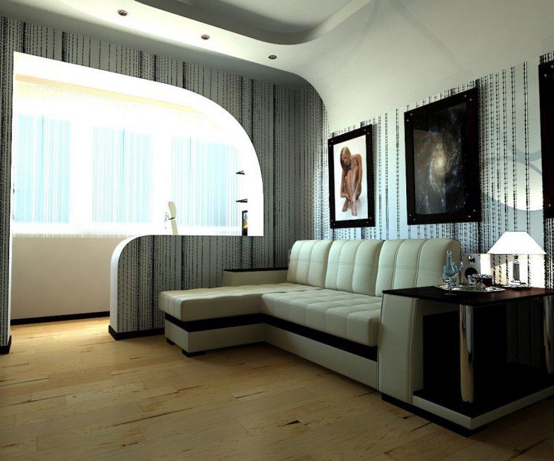 Yer kazanmak için oturma odası-yatak odasında kanepe