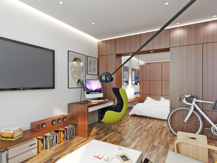 Oturma odasında gardırop ve yatak odası imar