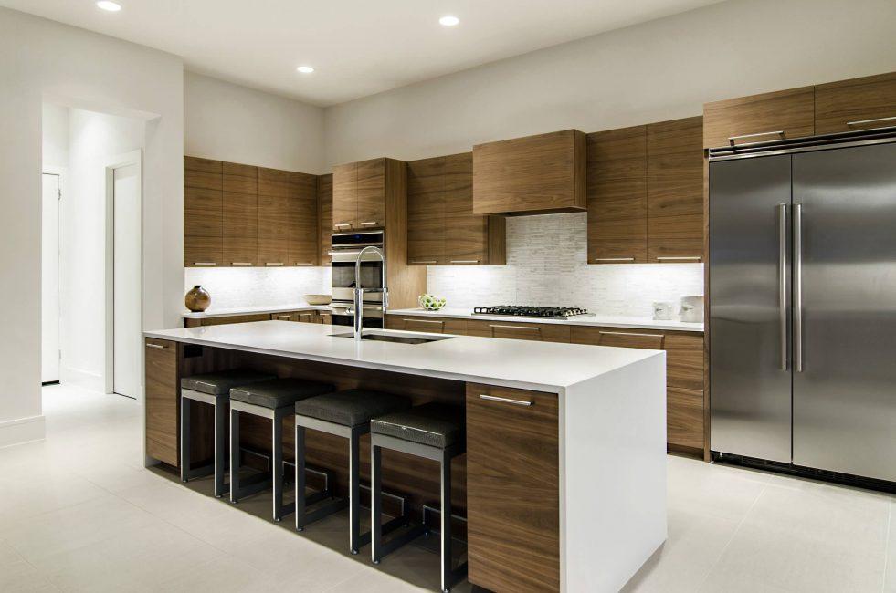 Perabot di dapur ini mempunyai permukaan monokrom.