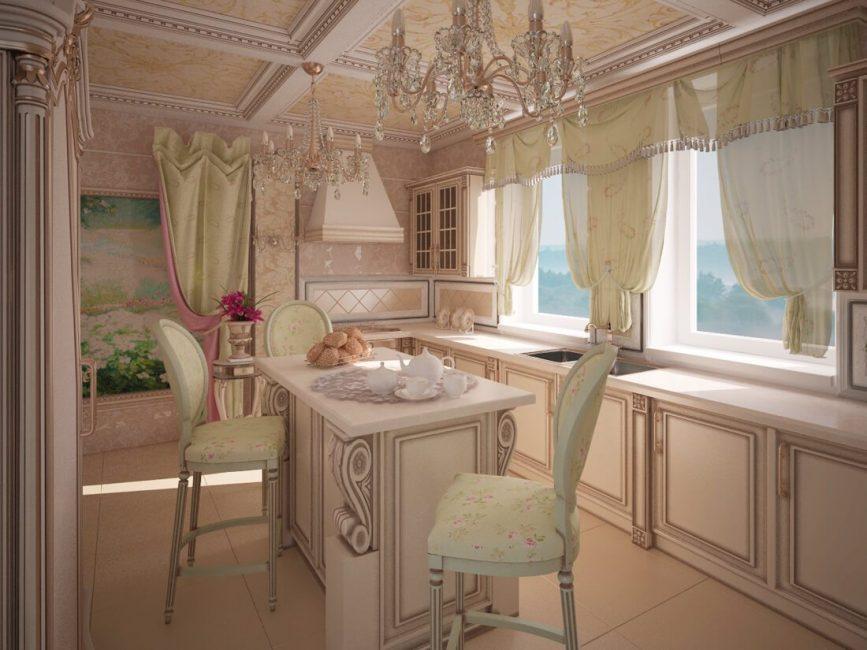 Interior dapur dengan langsir pendek dalam gaya Provence