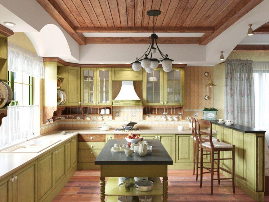 Dapur gaya Provence dalam warna zaitun ringan dengan aksen kayu