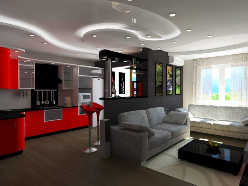 Mengatur zon dengan perabot sudut