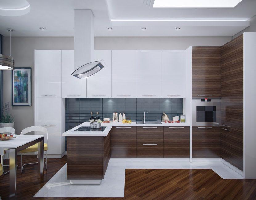 Sudut dapur besar dengan ruang makan - kesempurnaan yang sempurna.