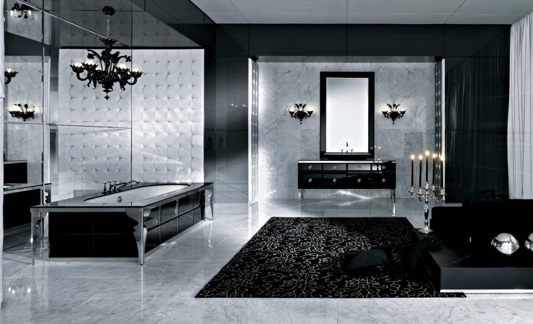 Bilik mandi hitam misteri dengan aksen marmar
