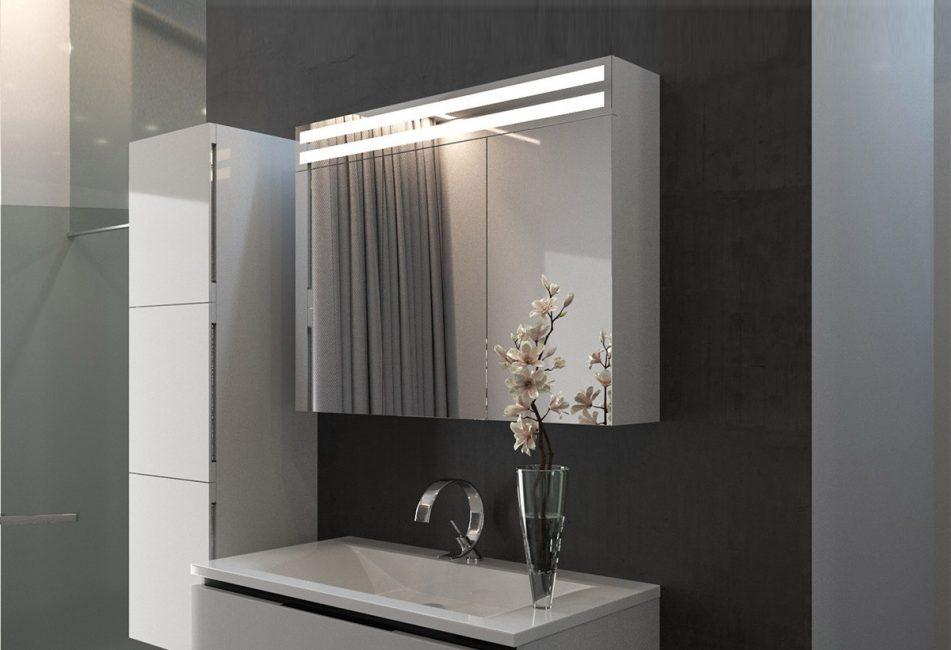 Kabinet cermin dengan dua lampu bujur