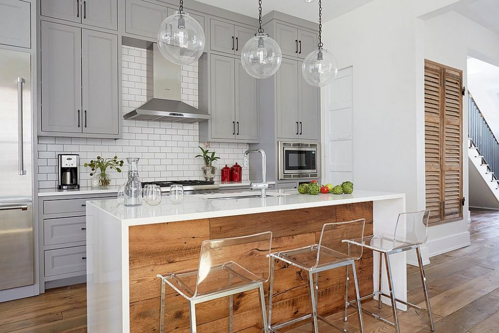 Dapur dengan unsur kayu