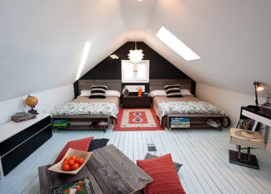 Reka bentuk bilik di loteng bergantung kepada citarasa pemilik