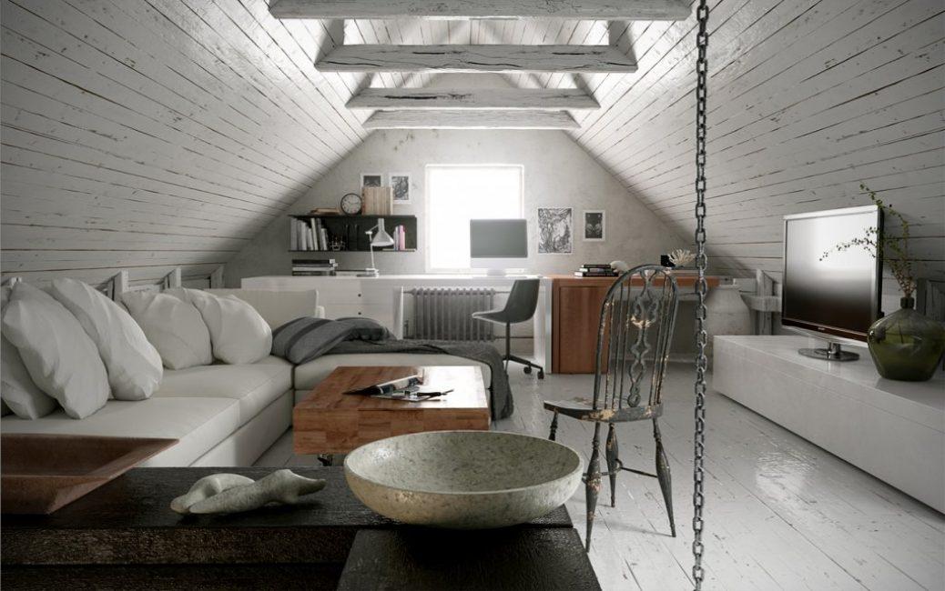 Rasuk siling sering digunakan di dalam bilik ini.